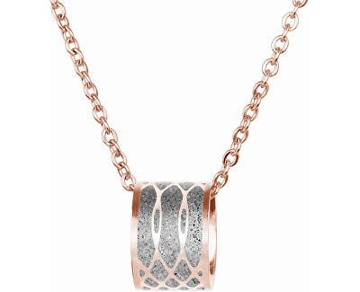 Ocelový náhrdelník s betonovým přívěskem a jemným řetízkem Merge bronzová/šedá