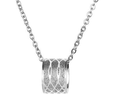 Ocelový náhrdelník s betonovým přívěskem a jemným řetízkem Merge ocelová/šedá