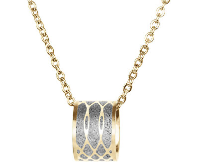 Ocelový náhrdelník s betonovým přívěskem a jemným řetízkem Merge zlatá/šedá