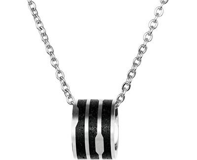 Ocelový náhrdelník s betonovým přívěskem a jemným řetízkem ocelová/antracitová Flow GJPWSSA104CCH