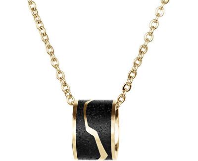 Ocelový náhrdelník s betonovým přívěskem a jemným řetízkem zlatá/antracitová Split