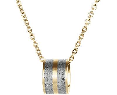 Ocelový náhrdelník s betonovým přívěskem a jemným řetízkem zlatá/šedá Fusion GJPWYGG101CCH