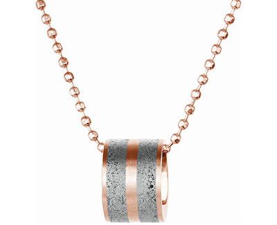 Ocelový náhrdelník s betonovým přívěskem a kuličkovým řetízkem bronzová/šedá Fusion GJPWRGG101BCH