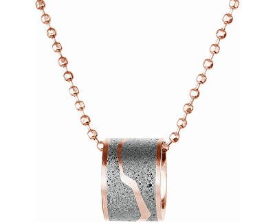 Ocelový náhrdelník s betonovým přívěskem a kuličkovým řetízkem bronzová/šedá Split