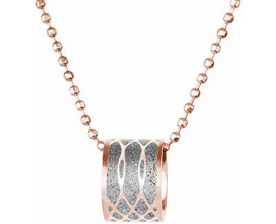 Ocelový náhrdelník s betonovým přívěskem a kuličkovým řetízkem Merge bronzová/šedá