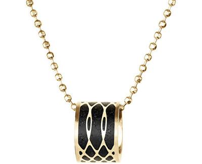 Ocelový náhrdelník s betonovým přívěskem a kuličkovým řetízkem Merge zlatá/antracitová