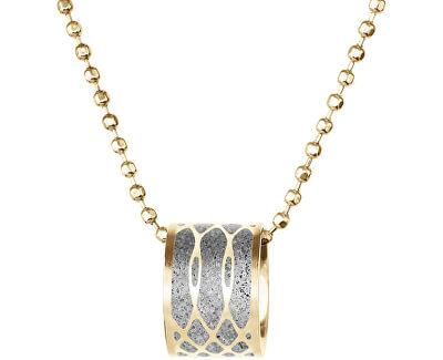 Ocelový náhrdelník s betonovým přívěskem a kuličkovým řetízkem Merge zlatá/šedá