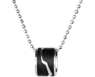 Ocelový náhrdelník s betonovým přívěskem a kuličkovým řetízkem ocelová/antracitová Split
