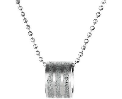 Ocelový náhrdelník s betonovým přívěskem a kuličkovým řetízkem ocelová/šedá Flow GJPWSSG104BCH