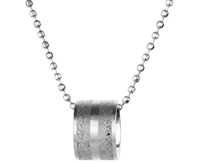 Ocelový náhrdelník s betonovým přívěskem a kuličkovým řetízkem ocelová/šedá Fusion GJPWSSG101BCH