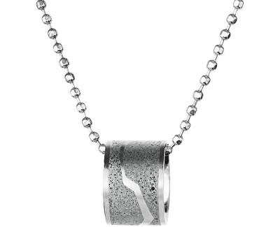 Ocelový náhrdelník s betonovým přívěskem a kuličkovým řetízkem ocelová/šedá Split