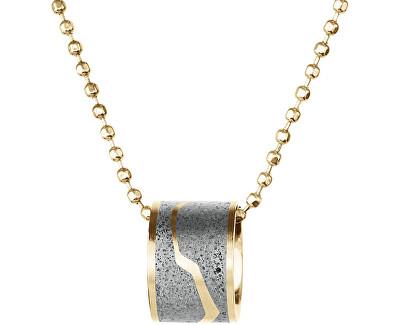 Ocelový náhrdelník s betonovým přívěskem a kuličkovým řetízkem Split zlatá/šedá
