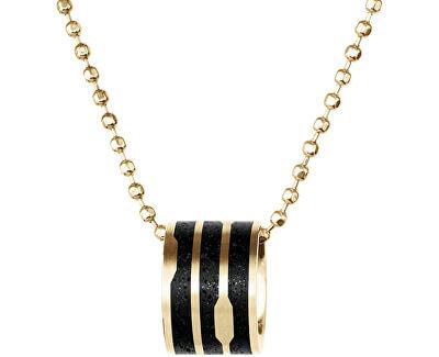 Ocelový náhrdelník s betonovým přívěskem a kuličkovým řetízkem zlatá/antracitová Flow