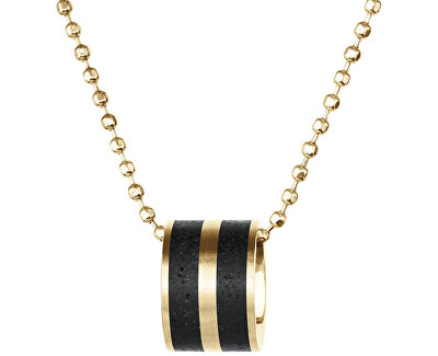 Ocelový náhrdelník s betonovým přívěskem a kuličkovým řetízkem zlatá/antracitová Fusion GJPWYGA101BCH