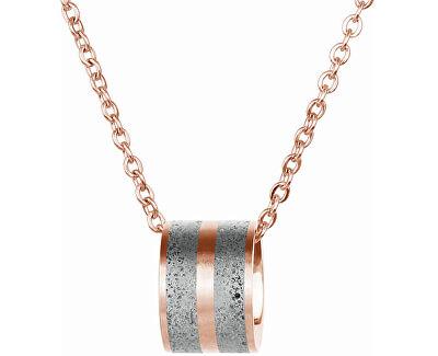 Ocelový náhrdelník s betonovým přívěskem a tradičním řetízkem bronzová/šedá Fusion GJPWRGG101CCH