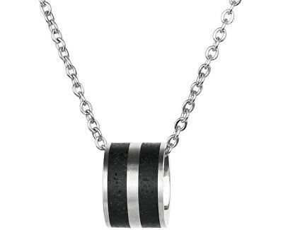 Ocelový náhrdelník s betonovým přívěskem a tradičním řetízkem ocelová/antracitová Fusion GJWSSA101CCH