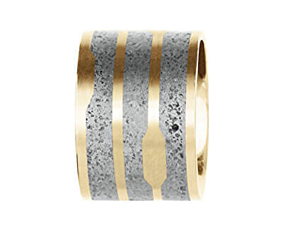 Ocelový přívěsek s betonem zlatá/šedá Flow GJPWYGG104UN