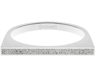 Ocelový prsten s betonem One Side ocelová/šedá GJRWSSG121