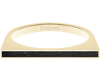 Ocelový prsten s betonem One Side zlatá/antracitová GJRWYGA121