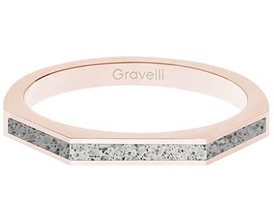 Ocelový prsten s betonem Three Side bronzová/šedá GJRWRGG123