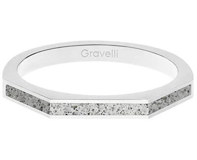 Ocelový prsten s betonem Three Side ocelová/šedá GJRWSSG123