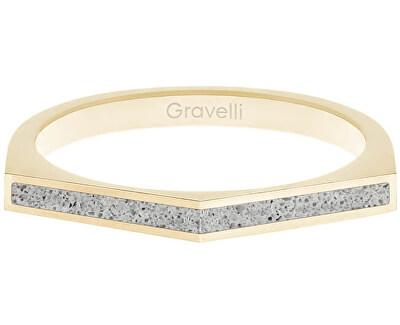 Ocelový prsten s betonem Two Side zlatá/šedá GJRWYGG122