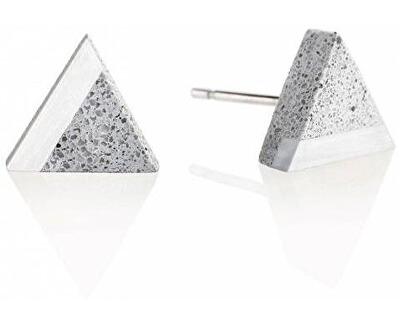 Peckové náušnice z betonu a oceli Triangle Steel GJEWSSG003UN
