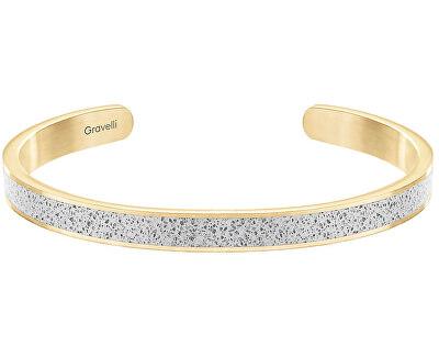 Szilárd acél fúziós vékony karkötő arany / szürke GJBWYGG101UN