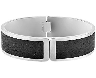 Pevný otvírací náramek z oceli s betonem Fusion Hinged ocelová/atracitová GJBWSSA111UN