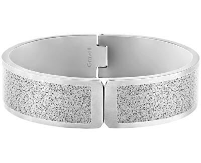 Pevný otvírací náramek z oceli s betonem Fusion Hinged ocelová/šedá GJBWSSG111UN