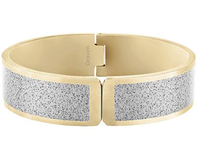 Pevný otvírací náramek z oceli s betonem Fusion Hinged zlatá/šedá GJBWYGG111UN