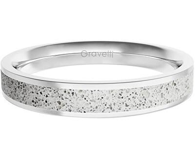 Prsten s betonem Fusion Thin ocelová/šedá GJRWSSG101