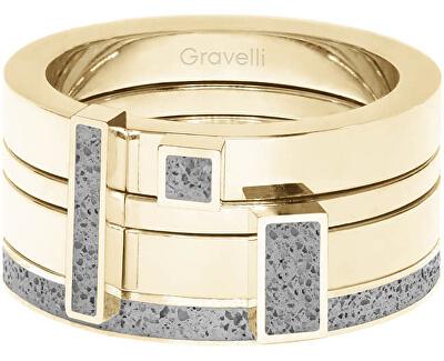 Sada čtyř prstenů s betonem Quadrium zlatá/šedá GJRWYGG124