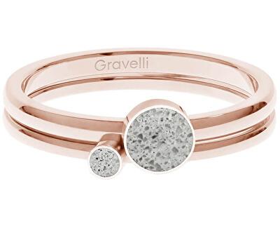 Sada ocelových prstenů s betonem Double Dot bronzová/šedá GJRWRGG108