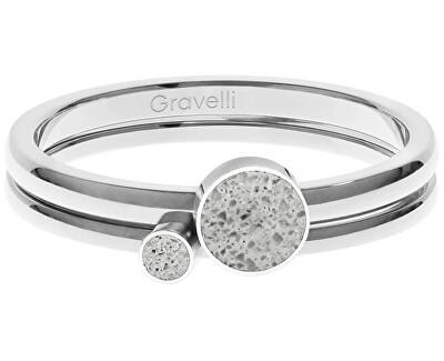 Sada ocelových prstenů s betonem Double Dot ocelová/šedá GJRWSSG108