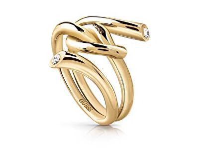 Módní pozlacený prsten s uzlem UBR29004