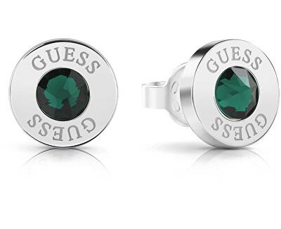 Náušnice pecky se zeleným krystalem UBE78107