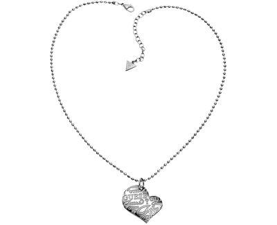Guess Colier din oțel cu o inimă USN80912
