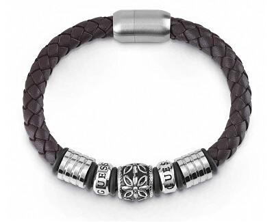 Pánský hnědý kožený náramek UMB85010