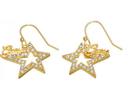 Guess Pozlátené hviezdičkové náušnice s kryštálmi UBE81302