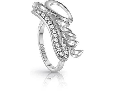Výrazný prsten s logem a krystaly UBR85041