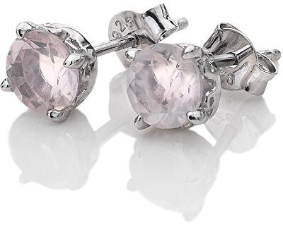Stříbrné náušnice Hot Diamonds Anais růžový křemen AE010