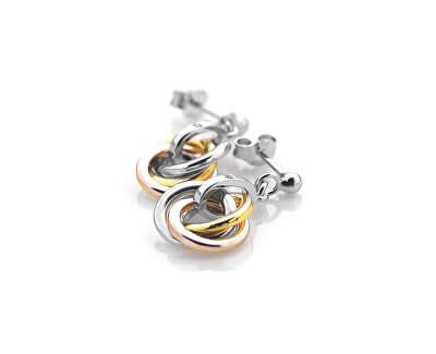 Stříbrné náušnice Trio Rose Gold DE389