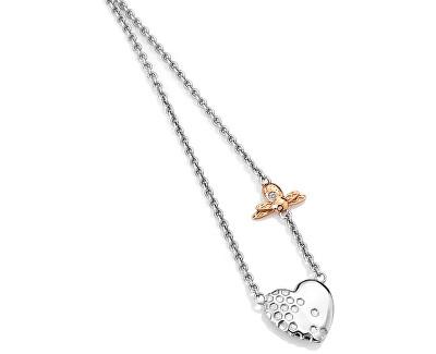 Bicolor stříbrný srdíčkový náhrdelník s diamantem Nature Honey Bee Heart DN146