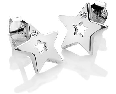 Stříbrné hvězdičkové náušnice s pravými diamanty Amulets DE587