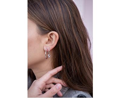 Stříbrné kruhové náušnice s diamanty Hoops DE627