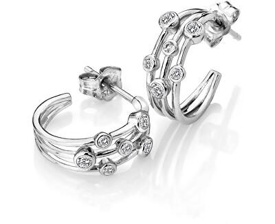 Stříbrné kruhové náušnice s diamanty Tender DE641