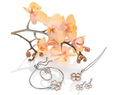 Stříbrný čtyřlístkový náhrdelník s diamantem Lucky in Love DP768