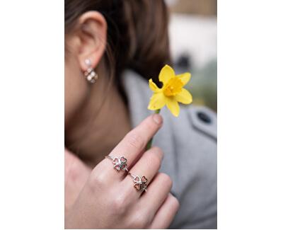 Bicolor stříbrný čtyřlístkový prsten s diamantem Lucky in Love DR216