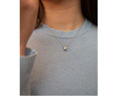 Stříbrný kruhový náhrdelník s diamantem Tender DP776